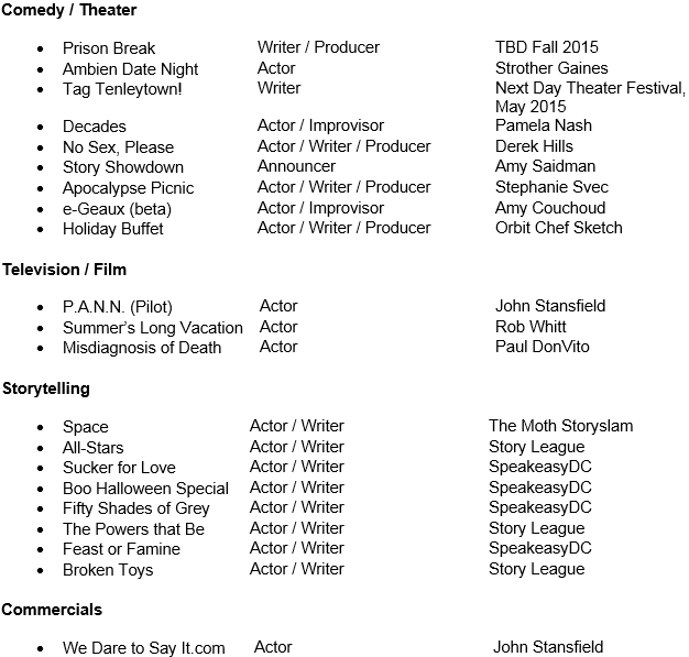 Theater Resume Derek Hills